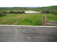 Cowboy Trail #hff (Mr. Happy Face - Peace :)) Tags: hff fence sign chainlakes yyc happyfencefriday nature fishing litter foothills art2017 albertabound