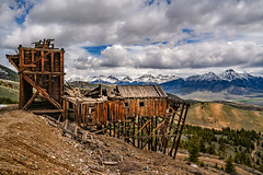 White Knob Headhouse (Rustic Lens Photography) Tags: mackay photography cratersofthemoon east idaho idahofalls south travel history historic white knob ghost town mining beautiful wall art landscape ruins decay prints mountain wood material nature abandoned outdoors scenics rural scene sky no people old range house built structure cloud snow architecture summer spring oldwest
