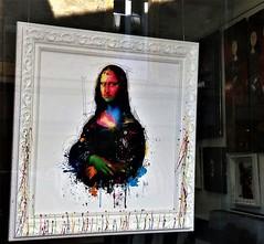 Art in a window:  Sarlat, France (ronmcbride66) Tags: france dordogne sarlat art iconicart monalisa artgallery oils pictureframe