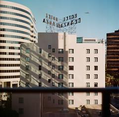 Home (bior) Tags: portra160 portra kodakportra160 kodakportra home hotel balcony hoteldeanza deanza sanjose downtownsanjose highrise tower downtown shadow kowasix kowa6 kowa 6x6cm mediumformat 120