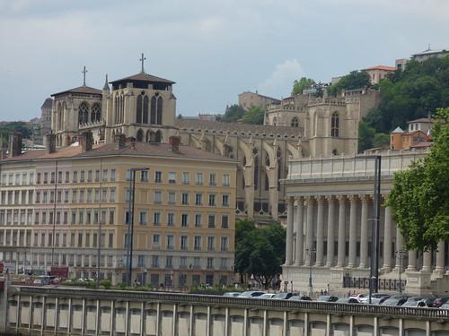 Pont Maréchal Juin - River Saône, Lyon - Lyon Cathedral and Palais de justice historique de Lyon