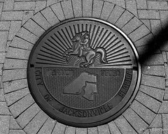 _MG_9682 5x4 B&W w (grilee3) Tags: jacksonville florida city reflection downtown sewer manhole cover
