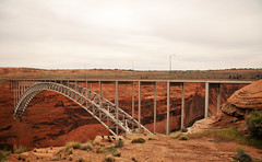 Glen Canyon Bridge (Vee living life to the full) Tags: nikond300 2017 holiday travel tourism tourist placestovisit traveller pleasure usa architecture sheer drop mountains skyline horizon transport bridge travelling driving map location water sky cloud clouds blue picture view glencanyondam girders arch concrete distance colorado lake powell
