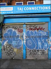 Dowt (Alex Ellison) Tags: dowt dfn throwup throwie shop store shutter southlondon urban graffiti graff boobs