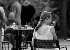 I'm on the phone, Morton Arboretum. (EOS) (Mega-Magpie) Tags: canon eos 60d outdoors people person the morton arboretum lisle dupage il illinois usa america bw black white mono monochrome lady woman gal phone talk