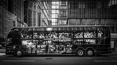 show bus of New York - THE RIDE (Klaus Mokosch) Tags: newyork usa showbus urban city hdr klausmokosch monochrome mono schwarzweiss bw blackwhite outdoor car street streetlife