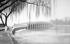 Crossing-the-Lake (petefoto) Tags: newyear lee09sgradfilter winter china mist bridge smog island monochrome ice beijing lake reflections qionghua empress royal willow