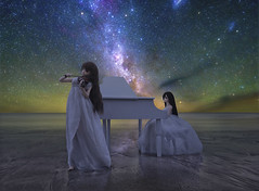 A tale of starry melodies (Ateens Chen) Tags: nikon afsnikkor20mmf18ged d810 starrysky milkyway carinanebula magellaniccloud sea reflection night portrait violin piano moonlight longexposure ateens