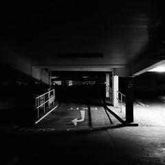 No Entry (DanRSmith) Tags: bw blackandwhite monochrome dark light shadow shadowplay rolleiflex xenotar 35e fujineopanacros100 nighttimeneopan night nightlight