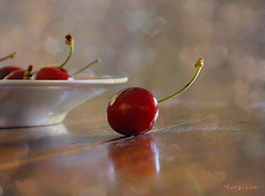 Cherries Sweet Moments ...:) (MargoLuc) Tags: cherries red fruits reflections table white dish pottery bokeh natural light window spring season stilllife food indoor