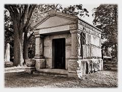 Rock Solid (nelhiebelv) Tags: tomb massive stone old sepiatone ovid michigan