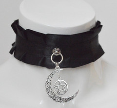 Witchy moon collar (ceressiass) Tags: kitten play kittenplay lolita cute kawaii neko girl boy nekogirl handmade shop etsy nekollars cgl ddlg princess sewing accessories collar choker necklace costume harajuku alternative fashion gothic dark goth regal royal vampire lady victorian gothgirl burlesque cabaret witch wiccan wicca pagan bdsm bdsmproof proof bdsmgear gear bdsmcollar