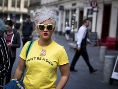 Don't Be That Guy (Leanne Boulton) Tags: people portrait urban street candid portraiture streetphotography candidstreetphotography streetportrait candidstreetportrait streetlife eyecontact woman female girl pretty face facial expression look emotion feeling sunglasses tshirt slogan text unicorn grey hair beauty beautiful bright yellow style stylish fashion tone texture detail depthoffield bokeh naturallight outdoor light shade shadow city scene human life living humanity society culture canon canon5d 5dmarkiii 70mm character ef2470mmf28liiusm color colour dutchangle glasgow scotland uk
