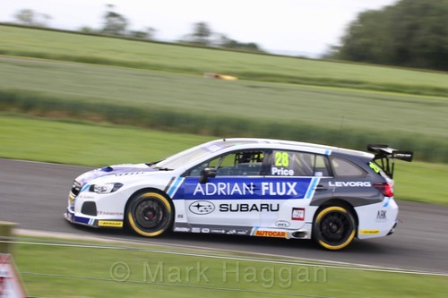 Josh Price in BTCC action at Croft, June 2017