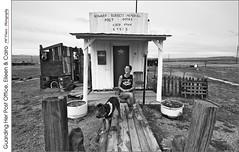 Guarding Her Post Office, Eileen & Cairo (jwvraets) Tags: utah cisco ciscolanding portrait postoffice shack eileen dog cairo monochrome blackandwhite bw wideangle opensource rawtherapee gimp nikon d7100 nikkor1224mm