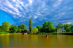 Spa Park in Inowrocław Poland (elzbietafazel) Tags: poland inowrocław lake water trees spa pond fountains green sky overcast cloudy landscape nature beauty rest colors park relax city