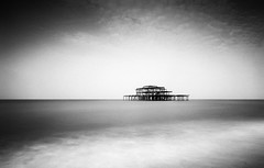 West Pier (RWYoung Images) Tags: rwyoung olympus em1mk11 slowshutter longexposure monochrome bw blackandwhite pier sea
