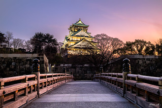 Osaka Castle in wonderful sunset