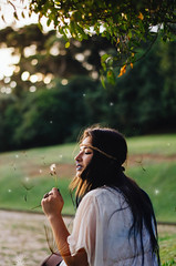 Dandelion (Miss C.J.) Tags: dandelion girl model nature goldenhour sunset park
