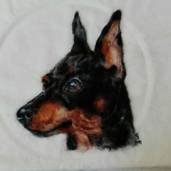 Wool painting miniature pinscher (Needle Feltings by - Dexihexi Pouch Puppies) Tags: miniaturepinscher pinscher woolpainting wool needlecraft dogportrait needlefelting felting dexihexipouchpuppies dog