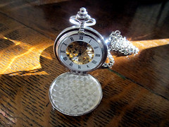 IMG_6926a (24FM) Tags: pocket watch timepiece silver winding windup pocketwatch time oak fob roman numerals evening sun table quartersawn