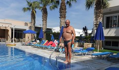 Preparing to Dive (pj's memories) Tags: greece kos mythosaparthotel kiniki tanthru trunks briefs pool palms