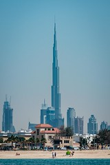 Dubai Revisited2.  Bright Beach Blue Burj (wes_f_hunt) Tags: burj khalifa dubai beach travel colour chrome fuji x mount xe2 50140 classic blue architecture building cityscape x14tc csc mirrorless