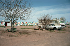 (patrickjoust) Tags: 6x9 medium format 120 rangefinder 90mm f35 fujinon lens c41 color negative film manual focus analog mechanical patrick joust patrickjoust arizona desert az usa us united states north america estados unidos rural small town sticks valle white car auto automobile vehicle camper rv parked tree bright colors