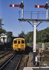 West Kirby semaphores (Bingley Hall) Tags: transport train transportation trainspotting rail railway railroad uk britain england britishrail semaphore signal signalbox westkirby electricmultipleunit emu thirdrail wirralmersey 650v dc class503