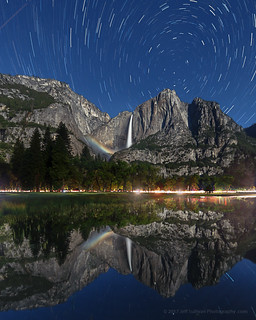 Moonbow Reflection and Star Trails
