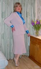 Lilac skirt suit (2) (janegeetgirl2) Tags: transvestite crossdresser crossdressing tgirl tv ts stockings heels garters nylons glamour blue satin blouse stilettos fully fashioned highheels lilac skirt suit janegee office secretary silver