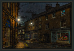 Into each life some rain must fall (Kev Walker ¦ 8 Million Views..Thank You) Tags: architecture beautiful britishculture building canon1100d canon1855mm colorfull england hdr kirkbylonsdale lancashire northwest traditional rain shop streetlamps street