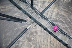 Bottrop, Germany (gstads) Tags: bottrop nrw nordrheinwestfalen northrhinewestphalia ruhr ruhrgebiet umbrella pink stairs staircase architecture lines geometry tetrahedron tetraeder