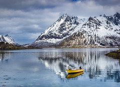 Yellow boat (Sizun Eye) Tags: reflections reflets calm water sea fjord sildpollneset lofoten norway archipelago europe boat yellow snow mountains landscape paysage bateau austvågøy sizuneye tamron2470mmf28 nikond750 d750 nikon nisifilters gettyimages