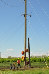 Stringing the line.... (Jeannette Greaves) Tags: hydro lines new south carman manitoba 2017