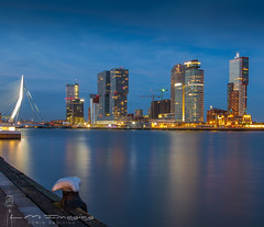 The Night falls at Rotterdam. (BrownyNL) Tags: kopvanzuid rotterdam landscape landschap europa city europe netherlands zuidholland stad landmarkphotographynl skyline nederland sunset