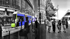 How do we get to Alex? (ANBerlin) Tags: architektur architecture städtisch urban abstrakt abstract gebäude building m6 flexity strasenbahn tram trolly cablecar bahnhof station einfarbig monochrome gelb yellow grün green blau blue farbe color spritzer splash licht lights drausen outdoor leute menschen people humans reflektion reflexion reflection spiegel mirror struktur structure ausergewöhnlich extraordinary infrastruktur infrastructure bahnsteig platform deutschland germany berlin mitte alexanderplatz sw bw biancoenero noiretblanc schwarzweis blackwhite akzent accent selective selektiv schlüsselfarbe keycolor singlecolor anb030 shotoniphone iphotography iphonography 6splus iphone6s iphone apple
