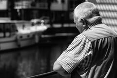 Fishing (simonpeeterss) Tags: fishing man fish river dijle mechelen blackandwhite black white bw stream water old elder elderly grandfather shirt sunny sun light harsh belgium belgië