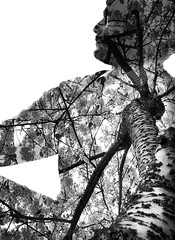 Project 365; #162 (iMalik1) Tags: project 365 days photo day challenge potd self portrait trees double exposure photoshop digital art selfie blending exposures technique surreal abstract monochrome tree black white
