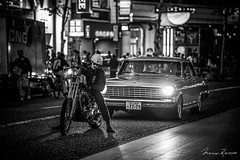 Easy Rider (Mario Rasso) Tags: mariorasso nikon d810 japan tokyo tokio shibuya street motorcycle chopper urban bw men car asia