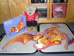D'ya like me dragon? (pefkosmad) Tags: tedricstudmuffin teddy bear ted cute cuddly soft stuffed animal toy fluffy plush firedragon shaped fxschmid sallyjsmith art dragon mythical creature 1000pieces complete used secondhand