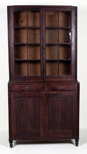 Shenandoah Valley Walnut 16 pane 2 piece Stepback Cupboard with Dovetailed Case ($2,240.00)