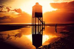 Evening at Burnham on Sea Lighthouse (sophie_merlo) Tags: somerset sunset sea burnham burnhamonsea beach seaside sky landscape scenic england summer reflection orange