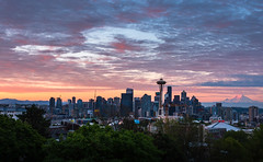 Seattle Sunrise (katiemparker) Tags: washington seattle queenanne kerrypark sunrise skyline spaceneedle mountrainier sky clouds park city pink purple orange morning alpenglow mountain d7200 cityscape dawn goldenhour washingtonstate
