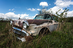 Oh there it is again, sitting on my chest (Erin Watson/Abandoned Exploration) Tags: abandoned old rusty crusty car buick vehicle auto automobile transportation head lights bumper chrome sky blue clouds grass over grown nature pink rust outside travel road trip adventure ue urban exploration explorer explore canon wide angle 5dmk3 dirty dirt grime broken