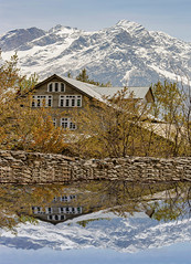 Kashmir (Rambonp:loves all creatures of this universe.) Tags: jk kashmir tulips flowers yellow wallpaper red white trees green nature park day india paradise blue canon landscape sky clouds silhouette snow mountains hills hillstation touristplace tourism sonamarg reflection water hut huts