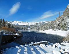 Spillway of Twin Lakes, Mammoth Lakes, CA 5-16-17 (inkknife_2000 (8 million views +)) Tags: mammothca springsnowstorm treeswithsnow sierranevadarange freshsnowonground waterreflection usa landscape snow dgraham photo california newsnow morningsnow twinlakes crystalcrag forest iceonlake trees pines firs waterreflections