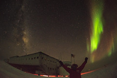 Milky Way vs. Aurora (redfurwolf) Tags: southpole southpolestation antarctica antarctic milkyway auroraaustralis aurora sky night nightsky stars snow building person selfie flag outdoor nature redfurwolf sonyalpha sony a7r ngc landscape fisheye