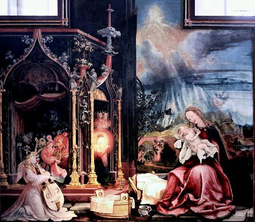 IMG_8149JB Matthias Grünewald.(Mathis Gothart Nithart)  1480 1528. Actif en Bade Wütemberg (Souabe)  et Alsace.  Le retable d'Issenheim. Incarnation. Ouverture des jours de Fêtes.    1512 1516  Colmar. Musée Unterlinden.