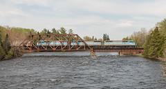 Crossing the Kennebec (jc_canon) Tags: centralmainequebec cmq job2 2 emd emdsd402f sd402f barns mooseheadsub mooseheadlake bridge railroadbridge train freighttrain kennebecriver